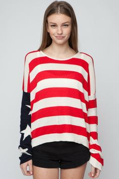 Brandy ♥ Melville | Cassidy American Flag Sweater - Pullovers - Sweaters - Clothing