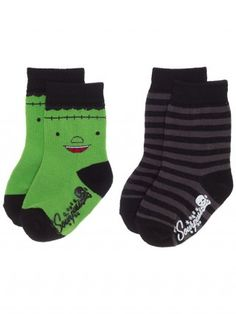 "Kids ""Monster Stripes"" Socks by Sourpuss Clothing (Green/Grey)"