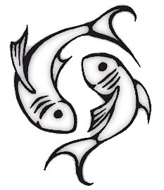 fish swimming in opposite directions; the symbol of pisces