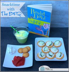 The BFG Themed Snacks--Snozzcumber Bites, Frobscottle Floats, Strawbumbles & Cream The Bfg Book, Bfg Activities, 3rd Grade Books, Roald Dahl Books, Book Reports, Whats For Lunch, Party Snacks, Children's Books, Games For Kids