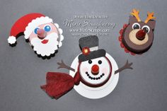 Stamping Inspiration: 25 DAYS OF CHRISTMAS, DAY #24: Snowman, Santa & Rudolph Tea Light Candles...