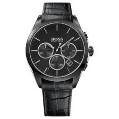 Hugo Boss Modern Onyx Men's Chronograph Black Leather Strap Watch Take a further off already reduced lines with the code Montres Hugo Boss, Women's Dress Watches, Boss Man, Unisex, Fashion Watches, Luxury Branding, Chronograph, Watches For Men, Black Leather