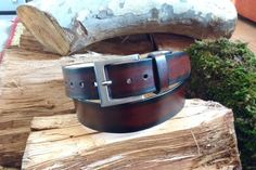 Men's handmade leather belt  Black and dark brown by Perifimo
