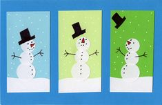 "Students can learn how to make their snowman card come to ""life"" by altering where the face and buttons are placed on the body."