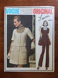 Vintage Mini Jumper, Skirt & Pants Sewing Pattern/ Vogue 2423 Lanvin Paris Original/ Misses Size 12 Hip 36/ Belted Dress Patch Pockets UNCUT by RedWickerBasket on Etsy