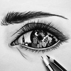 City in a eye   ✏ #art #byme #eye #artist #artwork #drawing #instaartist #place #girl #instadraw #draw #moon #city #black #pencil #pen #gallery