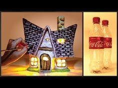 ❣DIY Little Fairy House Lamp Using Coke Plastic Bottles❣ - Bottles Craft 5 Plastic Bottle House, Reuse Plastic Bottles, Plastic Bottle Flowers, Plastic Bottle Crafts, Recycled Bottles, Clay Fairy House, House Lamp, Fairy Crafts, Clay Fairies