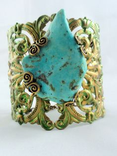Large Green/Gold Filigree Cuff with Turquoise Bracelet by Beetique, $45.00