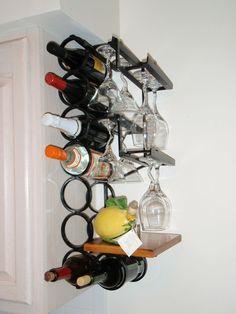 Custom Made Glass Wrought Iron Wall Mounted Wine Rack Wine Bottle Storage, Iron Wall, Wrought Iron, Wine Rack, Wall Mount, Wine Glass, Crafts, Furniture, Home Decor