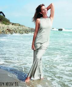Cindy Crawford on the beach at her Malibu home