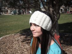 Bright Cream White Knitted Ear Warmer Headband by KnittingWriter, $25.00