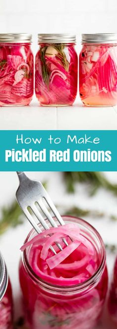 Learn how to make Pickled Red Onions and customize the pickling juice several different ways. Pickled Red Onions add a punch of flavor to any dish! #thestayathomechef #pickledredonions Onion Recipes, Carrot Salad Recipes, Mexican Food Recipes, Juice Recipes, Tequila, How To Make Pickles, Making Pickles, Pickling Juice Recipe, Pickled White Onions
