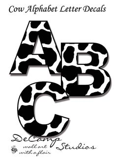 Cow Alphabet letter wall art decals for barnyard farm decor, baby nursery, or kids room. Spell a NAME or your favorite SAYING #decampstudios