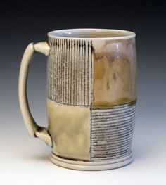 Lorna Meaden, Beer Stein, Soda Fired Porcelain, wheel thrown with slip inlay, 5x4x3'', 2015