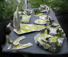Gallery of foam scenery and terrain for miniature tabletop war games, created with Hot Wire Foam Factory tools and products.