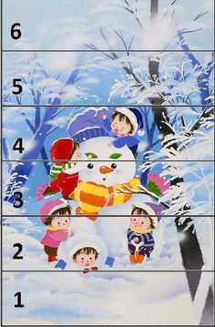zimné 1-6 Christmas Puzzle, Christmas Crafts, Puzzles, Baby Sensory Play, Winter Activities For Kids, Kindergarten Crafts, Letter Recognition, Worksheets For Kids, Infant Activities