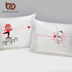 I LOVE YOU Pillow Case Cover Plain Printed Pillowcase Romantic Wedding Gift One Pair for Him or Her Bedclothes - Animetee - 3