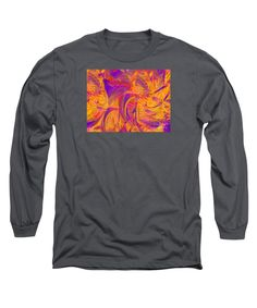 Wild Patterns Like Flames With Facets.vibrant Colors Long Sleeve T-Shirt featuring the painting There's Magic In The Fire by Expressionistart studio Priscilla Batzell