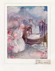 Vintage 1915 The Ferry Boat Child's Illustration, Print to Frame by Ann Anderson, Sleep Theme, Nursery, Poem