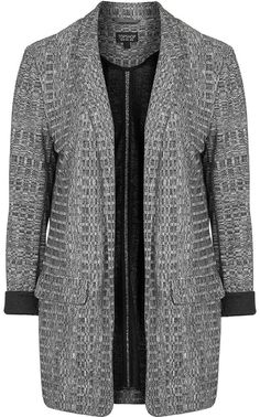 Womens black and white jersey boyfriend jacket - monochrome, monochrome from Topshop - £39 at ClothingByColour.com