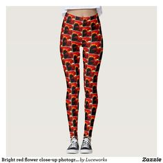 Bright red flower close-up photography leggings