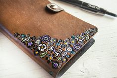 Floral Leather Journal and Sketchbook  Custom by MesaDreams, $95.00