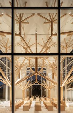"Agri Chapel / Yu Momoeda Architecture Office, Japan ""We tried to design the building as a new gothic style chapel, by using Japanese wooden system, using fractal structure system. Sacred Architecture, Architecture Romane, Architecture Design, Romanesque Architecture, Architecture Panel, Cultural Architecture, Education Architecture, Church Architecture, Religious Architecture"