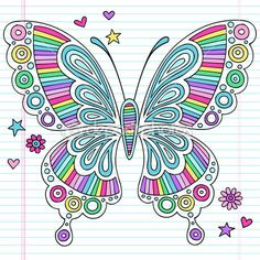 Hand-Drawn Rainbow Notebook Doodle Butterfly with Hearts, Stars, and Flowers- Design Elements on Lined Notebook Paper Background- Vector Illustration.