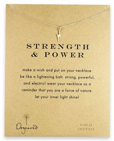 Dogeared Strength and Power Gold Lightning Bolt Necklace