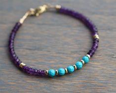 Beaded Amethyst Bracelet February Birthstone Bracelet Turquoise Bracelet  Modern Gemstone Bracelet Boho Amethyst Bracelet Gift For Her