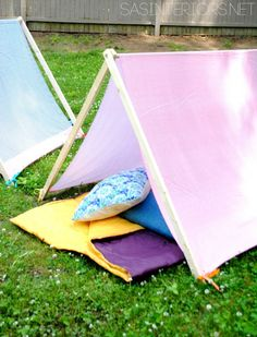 Kids Play + Camping Tent - $10 to make +10 minutes to create!  Super simple creation that your kids will love!