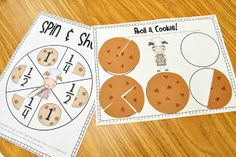 Spin & Share - Students make cookies out of play dough. Then they spin the spinner to determine how to cut their cookie and record the fraction on the recording sheet. There are two spinners - one with fractions and another that shows how many children will share the cookie (in case you haven't taught them to read fractions).