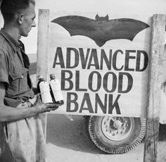 ☞ MD ☆☆☆ A 'Vampire' sign outside an Army Blood Transfusion Service advanced blood bank in the Western Desert, 29 October 1942.