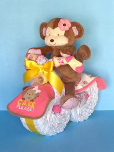 Diaper Motorcycle  Monkey Diaper Cake  by PamperedBabyCreation, $65.00