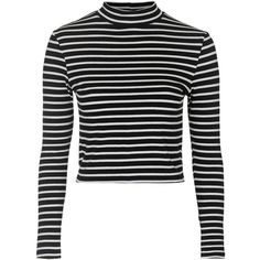 TOPSHOP Stripe Funnel Neck Top ($28) ❤ liked on Polyvore featuring tops, cream, topshop, black top, stripe top, topshop tops and black striped top