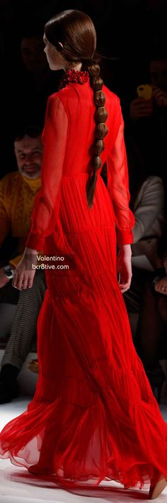 Love the ponytail...Valentino FW 2014 #ParisFashionWeek  jaglady