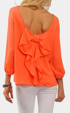 Coral bow blouse