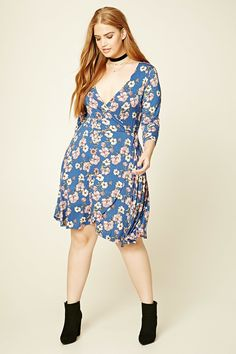 Forever 21+ - A knit faux wrap dress featuring an allover floral print, a surplice neckline, a self-tie at the side waist, and 3/4 sleeves.