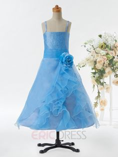 ericdress.com offers high quality  Beautiful Spaghetti Straps Beaded A Line Flower Girl Dress Flower Girl Party Dresses   unit price of $ 50.34.