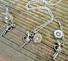 Bullet and Pistol charm Jewelry set by Sarahsjewelrydesigns, $47.99