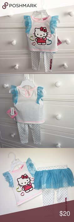 b8559c315392 🆕NWT Hello Kitty Outfit 🎀Baby Girl Brand new with tags. Sleeveless white  top with light blue ruffles and matching polka dot pants with ruffles  around the ...