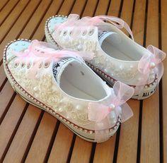 By vanilya dizayn -turkey-Gelin ayakkabilari- converse- lace/ pearl- bridal comfort shoes