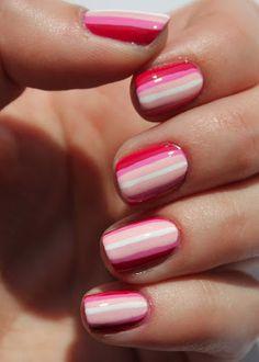 Pink ombre stripes nail art