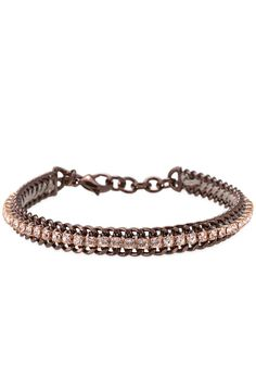 Copper Cupchain Bracelet by Stella & Dot. Handset rose gold cupchain, Swarovski crystals, and bronze plated chain.