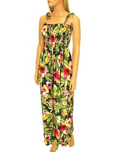 Maxi Smocked Elastic Top Nani Aloha Long Dress  #610R-NANI