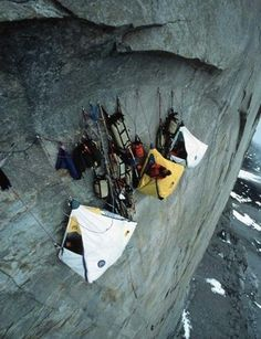 Camping...  Like a boss.    ...I'm not sure I could rock climb, and camp on the side of a sheer cliff... #Camping #Outdoors #RockClimbing