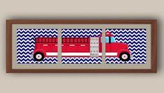 Boys Nursery Art - Fire Truck Nursery Art - Transportation Nursery Decor - Chevron Nursery - Kids Wall Art - Set Of Three Prints Monster Truck Drawing, Monster Truck Room, Monster Truck Birthday, Custom Truck Beds, Custom Trucks, Small Truck Camper, Old Trucks For Sale, Fire Truck Nursery, Truck Bed Covers