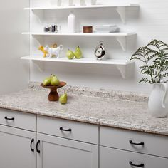 Do White Floating Shelves And A Grayish Cabinet VT Dimensions Formica Ouro Romano Etchings Straight Laminate Kitchen