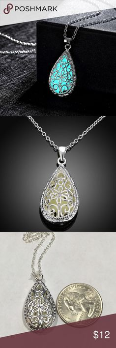 Glow Necklace 925 stamped Stand out with this gorgeous glow necklace!! Chain stamped 925. Chain Measures approx 17. Beautiful filigree design. Jewelry Necklaces