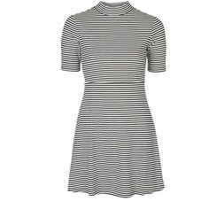 TALL Stripe Flippy Dress (200 MYR) ❤ liked on Polyvore featuring dresses, petite dresses, petite white dresses, stripe dress, white stripe dress and striped dress